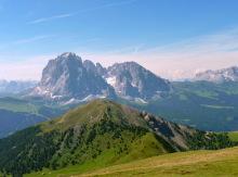 Blick von der Seceda auf den Langkofel, Plattkofel und Pic Berg, 27.06.