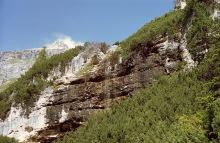 Noch ein Wasserfall mit der Puez Spitze im HIntergrund, 20.9.01